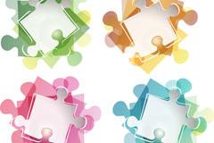 彩色拼图元素矢量素材