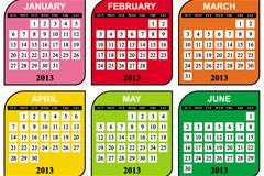 多彩方格日历矢量素材