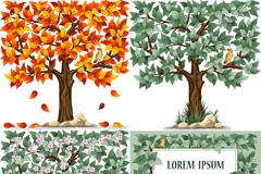 精美树与鸟矢量素材
