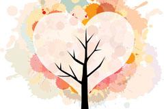 泼墨幻彩爱心树矢量素材