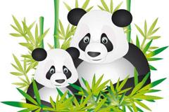 可爱熊猫母子矢量素材