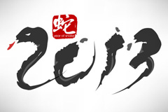 2013水墨蛇年字体矢量素材