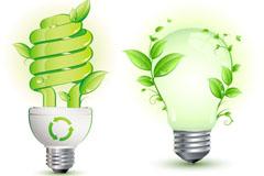 创意绿色节能灯泡矢量素材