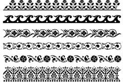 黑色花纹花边纹样矢量素材