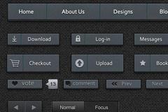方形硬朗UI元素PSD素材