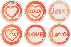 情人节圆形贴纸标签矢量素材