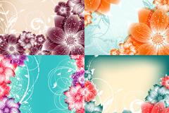 绚丽花卉边框矢量素材
