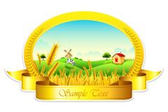农场风光标签标贴矢量素材