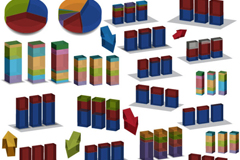 彩色立体数据分析图矢量素材