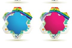 彩色多边形花纹边框矢量素材