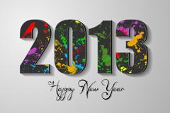 2013创意墨迹字体矢量素材