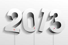 白色质感2013字体设计矢量素材