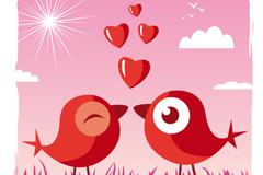 情人节爱心小鸟矢量素材