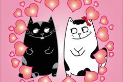 卡通爱心猫咪矢量素材