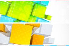 彩色立体横幅背景矢量素材
