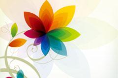 七彩花卉背景矢量素材