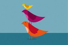可爱卡通小鸟矢量素材