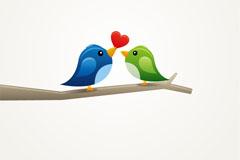 卡通爱心小鸟矢量素材