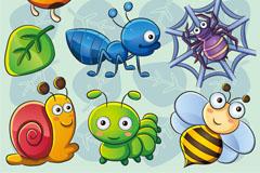 可爱卡通小昆虫矢量材