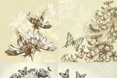 复古手绘蝴蝶花卉矢量素材