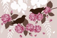 精美玫瑰装饰背景矢量素材