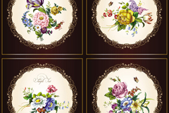 精美古典花卉矢量素材