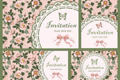 精美花卉邀请卡设计矢量素材