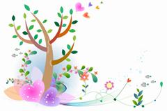 淡雅春季彩绘矢量素材