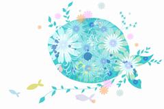 蓝色花卉插画矢量素材