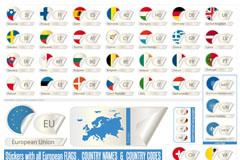 欧洲国旗标贴矢量素材