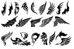 精美手绘翅膀矢量素材