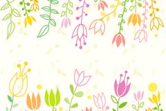童趣彩绘花卉矢量素材