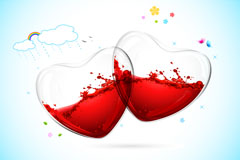 情人节玻璃爱心矢量素材