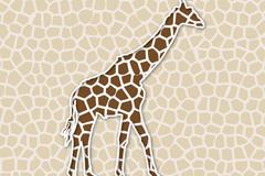 创意长颈鹿剪纸矢量素材