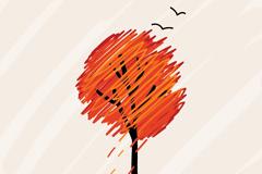 彩绘秋意插画矢量素材
