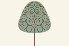 创意旋涡花纹树矢量素材