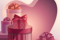 复古情人节粉色礼盒矢量素材