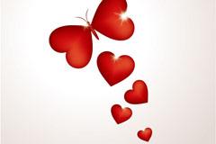 创意蝴蝶爱心矢量素材