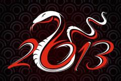 2013创意蛇年卡片矢量素材