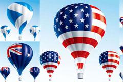 创意国旗热气球设计矢量素材