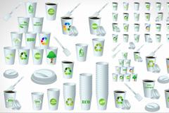 简洁生态纸杯设计矢量素材