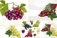 精美葡萄与高脚杯矢量素材