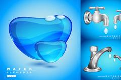 水龙头液态水主题矢量素材