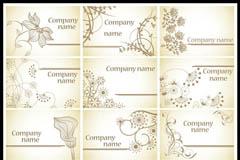 手绘花朵名片背景矢量素材