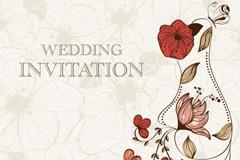 花卉婚礼邀请卡矢量素材