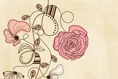 复古花卉卡片矢量素材
