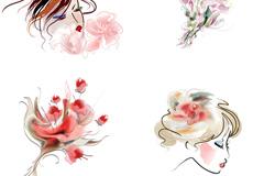 彩绘鲜花女性头像矢量素材