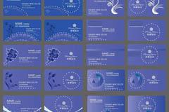 蓝色花纹名片背景矢量素材