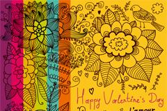 彩绘花纹情人节卡片矢量素材