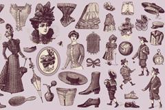 19世纪欧洲人物与服饰矢量素材